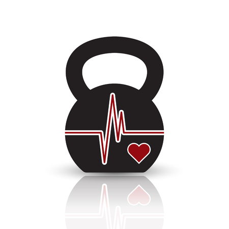 reflection of life: Vector kettlebell icon with red shape of EKG (heartbeat diagram). Black pictogram with reflection on the white background.