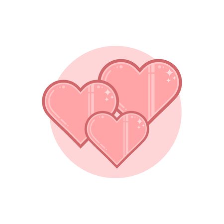Vector icon of hearts. Illustration is in lineart style. Symbol on circular background element.
