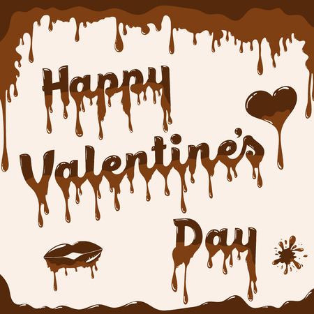 hot couple: Valentines day card vector template. Illustration with melted chocolate text, heart and lips. Light brown background. Illustration