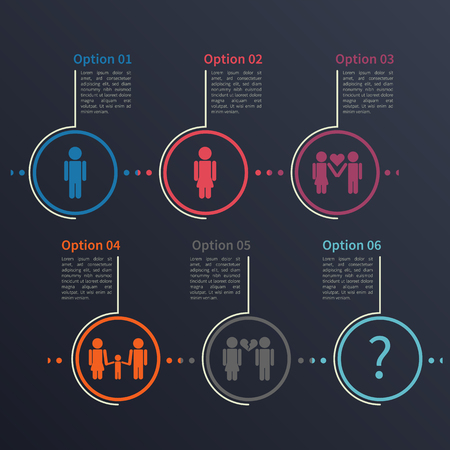 social history: Vector infographic template. Concept based on the relationship between man and woman. Illustration on the dark background.