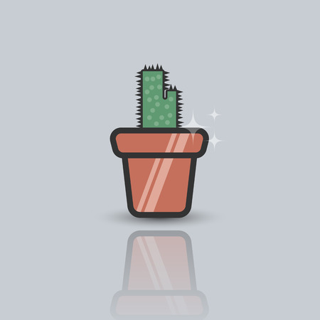 Vector flat illustration of cactus in the flowerpot. Lineart icon on the grey background.