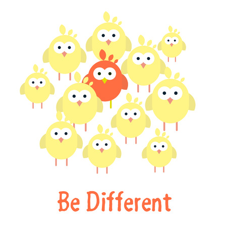 Cute Vector illustration of Be different template with chickens. Easter card concept.