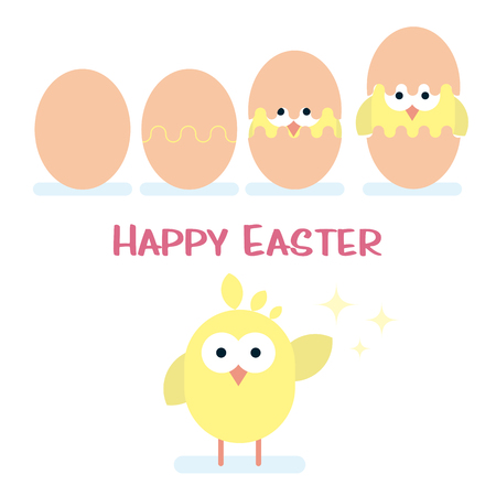 Cracked Vector happy Easter card with newborn chicken.