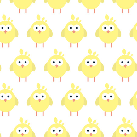 Comic Vector seamless pattern with flat chickens pictograph. Stylized Easter illustration.