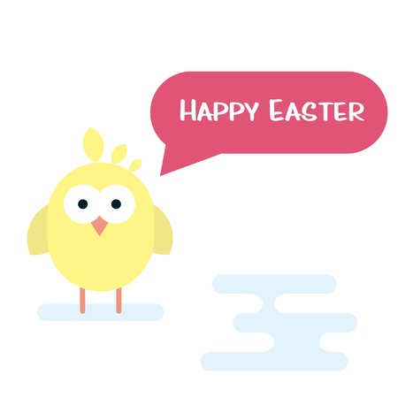 Talking Vector happy Easter card with newborn chicken. Illustration