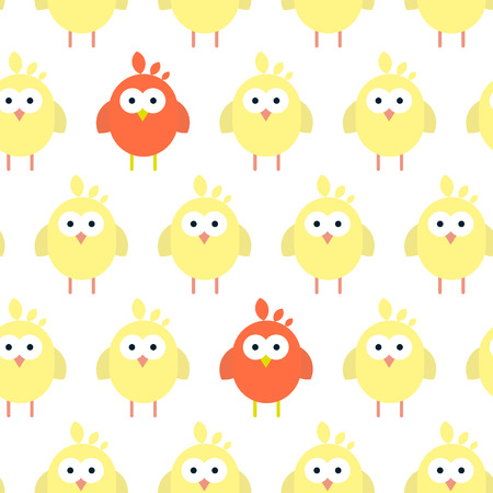 Vector seamless pattern with flat chickens pictograms. Stylized easter illustration. Illustration