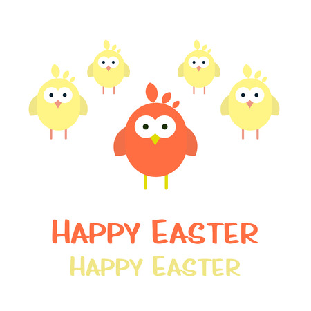 Vector happy easter card with newborn chickens.