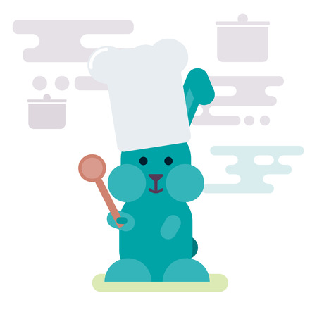 Vector flat illustration of bunny chef with wooden spoon. Stylized easter pictogram.