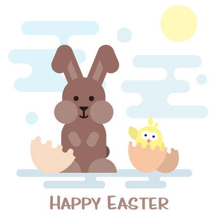 broken eggs: Vector happy easter card with nbunny and chicken in the egg shell.