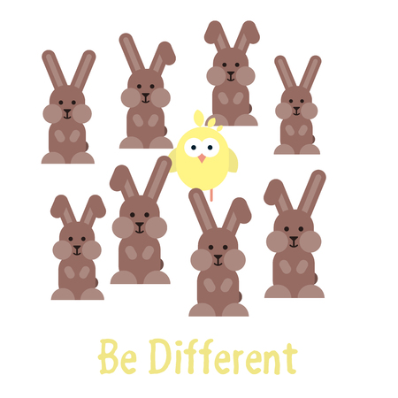 Vector flat illustration of Be different template with bunnies and chickens. Illustration