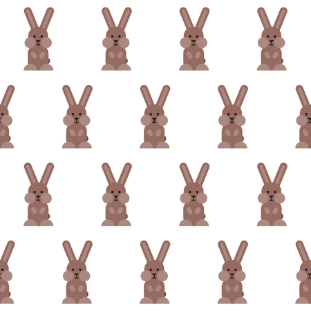 Vector seamless pattern with flat bunnies pictograms. Stylized easter illustration.