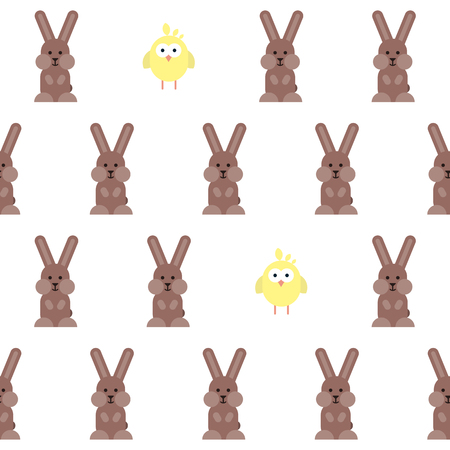 Vector seamless pattern with flat bunnies and chickens pictograms. Stylized easter illustration. Illustration