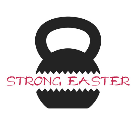 Vector flat illustration of Happy easter card concept with cracked kettlebell.