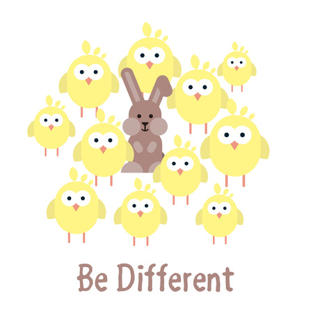 Vector flat illustration of Be different template with chickens and bunny. Easter card concept.