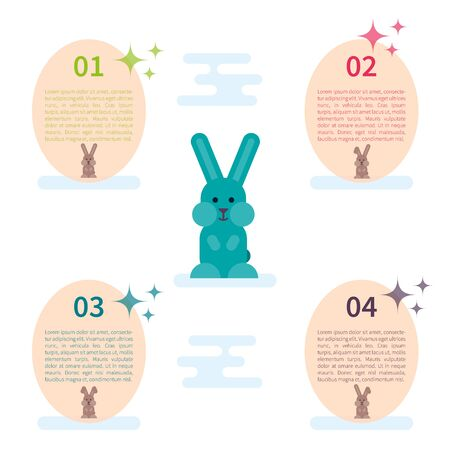 Vector infographic template with flat bunny illustration and eggs.