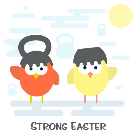 broken eggs: Vector flat illustration of Happy easter card concept with cracked kettlebell and chickens. Illustration