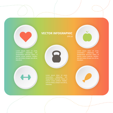 heavy heart: Vector infographic template with fitness icons. Business concept on the colorful background.
