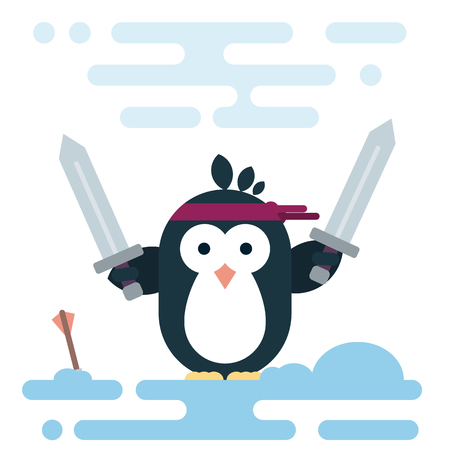 Vector penguin character stylized as a barbarian with two swords. Modern flat illustration. Illustration