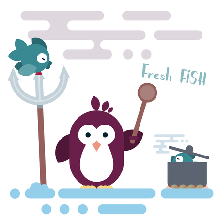 Vector penguin character stylized as chef with wooden spoon and with pot. Modern flat illustration. Illustration