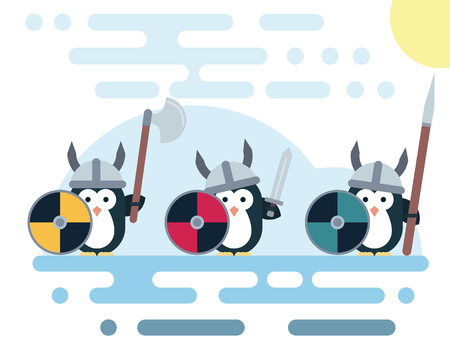 Set of vector penguins characters stylized as a viking warrior with various weapons. Modern flat illustration. Vettoriali
