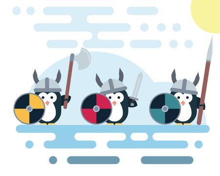 Set van vector pinguïns tekens gestileerd als een viking krijger met verschillende wapens. Moderne vlakke afbeelding. Stockfoto - 80493590