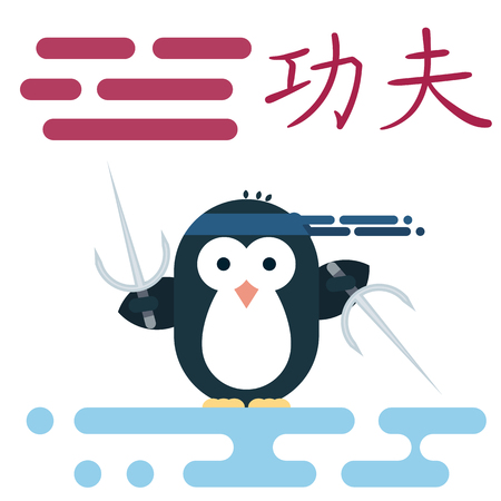 Vector penguin character stylized as a kung-fu monk with weapons. Modern flat illustration.