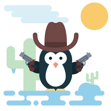 Vector penguin character stylized as a cowboy with revolvers and hat. Modern flat illustration.