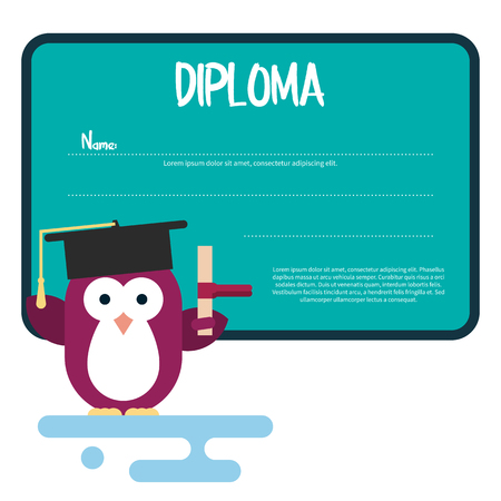 antarctic: Vector diploma template with penguin character stylized as a student. Modern flat illustration.
