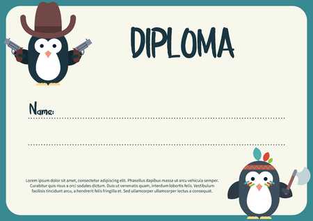 Vector Flat Template Of Diploma Decorated With Penguin Stylized