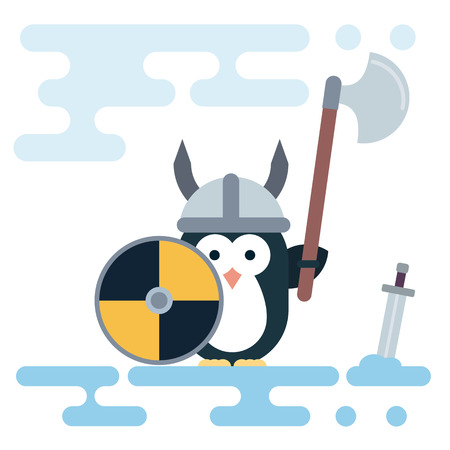 Vector penguin character stylized as a viking warrior with helm, shield and sword. Modern flat illustration. Illustration