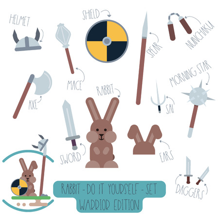 Vector Do it yourself set with rabbit and weapons. Make your own cartoon flat illustration of funny warrior.