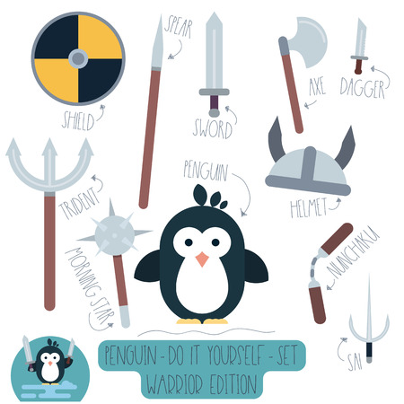 Vector Do it yourself set with penguin and weapons. Make your own cartoon flat illustration of funny warrior. Illustration