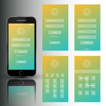 Ilustração do vetor do conjunto agradável do telefone móvel de quadros de segurança. Modelo com login, registro, senha e swipe. Ilustración de vector