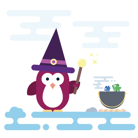 Vector flat penguin character stylized as witch with magic stick and with pot. Modern flat illustration.