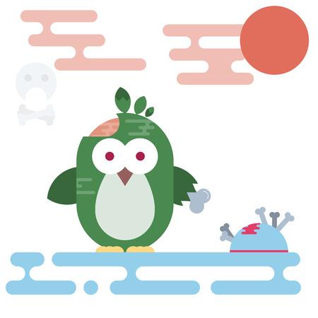 Vector flat penguin character stylized as zombie. Modern flat illustration. Illustration