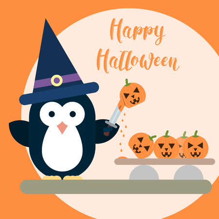Vector flat penguin character stylized as witch with knife and with carved pumpkins. Flat illustration of Halloween card template.