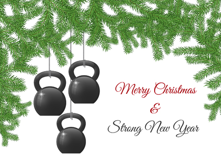 Christmas and New Year greeting card design template with kettlebells stylized like christmas decorations.