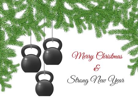 La plantilla del diseño de la tarjeta de felicitación de la Navidad y del Año Nuevo con los kettlebells estilizó como decoraciones de la Navidad. Foto de archivo - 91169454