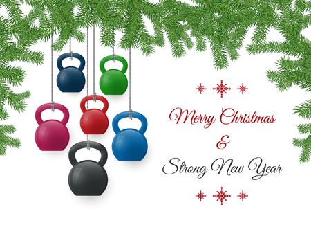 Vektor Weihnachten und Neujahr Grußkarte. Vorlage mit Ketllebells stilisiert wie Weihnachtsschmuck und mit Tannenzweigen. Vektorgrafik