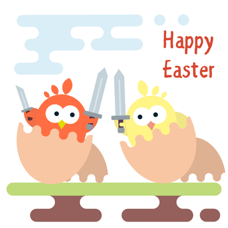 A Vector flat illustration of warrior chickens with swords in egg shells. Easter card template.