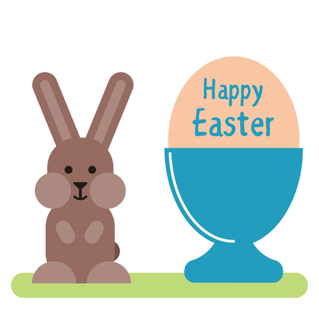 Vector flat illustration of the egg in the egg stand and with bunny. Easter greeting card template.