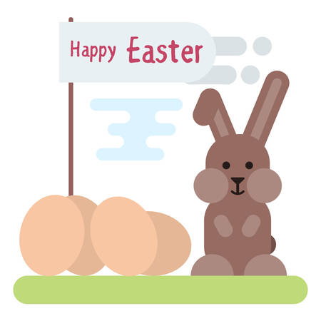 Vector flat illustration of Easter bunny with eggs and with flag.