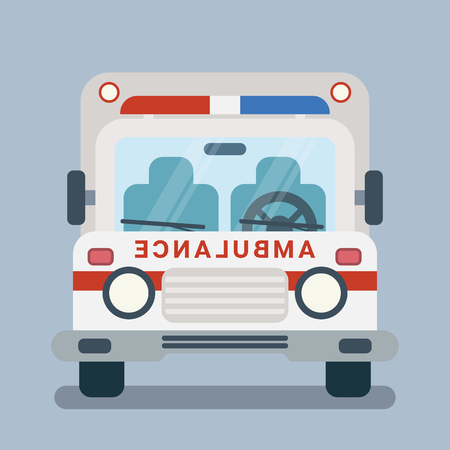 Modern vector flat cartoon illustration of front side of stylized ambulance car. Vectores