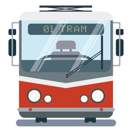 Modern vector flat cartoon illustration of front side of stylized tram. Vectores