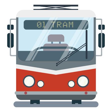 Nowoczesne wektor ilustracja kreskówka płaski z przodu stylizowanego tramwaju. Ilustracje wektorowe