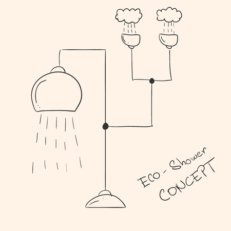 Concept of futuristic ecological shower with water collection from rain. Vector hand-drawn illustration. Ilustração