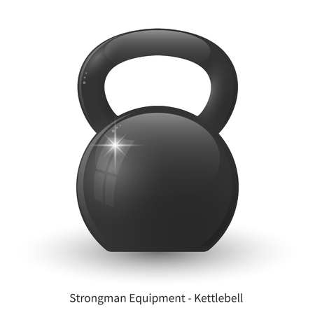Vector illustration of glossy kettlebell on the white background.