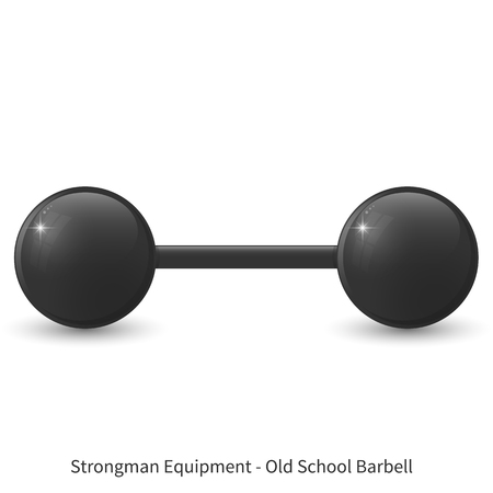 Vector illustration of glossy old school barbell on the white background.
