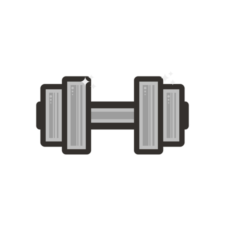 Vector dumbbell lineart icon. Symbol on the white background.