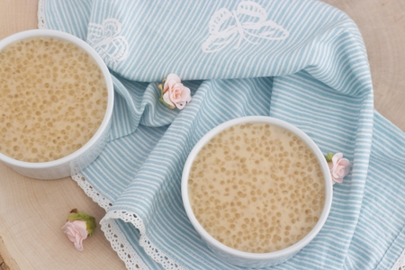 Photo of healthy pudding made from the tapioca pearls and coconut milk. Banco de Imagens